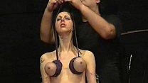 Brutal tit hanging bdsm of pierced slavegirl Emily Sharpe