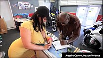 Phat Ass Massive Boobed Angelina Castro Fucks A Huge Black Dick to get a sell a motorcycle!