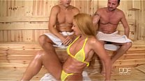 Bokep Cathy Heaven gets a Double Dick Down in the Sauna