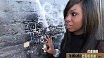 Hot ebony chick in interracial gangbang 27