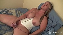Chubby amateur blonde playing with dildo
