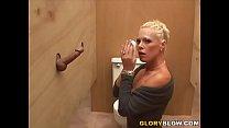 Kyra Receives Facial Cumshot After Gloryhole Blowjob