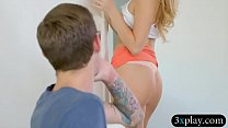 Pretty blonde babe gives a nice blowjob then gets fucked by her stepbro on the couch