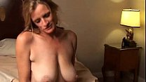 Mature cocksucker gets cum on boobs