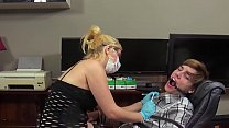 hot blonde dentist gives guy a blowjob