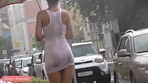 Jeny Smith white see through mini dress in public.
