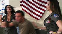 Pair of dominant drill sergeants tell a solider to fuck them hard