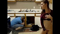 Ohmibod girl in front of plumber