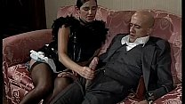 Woman in skirt/dress and stokings sucks and fucks a boy