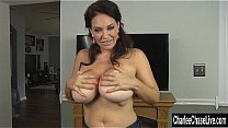 Sexy MILF Charlee Chase doesn't care its the middle of winter, she wants cock! So she puts on her puffy jacket and starts sucking! Exclusive from CharleeChaseLive.com