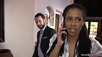 Big cock banker ties up hot ebony teen and fucks her black ass