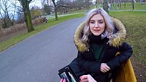 Young teen gives a blowjob to stranger in the park for some cash and swallows his cum - Eva Elfie