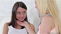 Teen lesbians kiss and finger