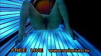 Perfekt Girl Big Bobs filmed with Real Hidden Webcam under the solarium, she masturbating and spy camera filmed