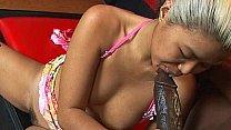 Mature asian sucks huge black cock