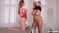 Busty lesbian Krystal Swift bangs her top-heavy girlfriend Suzie with purple dong
