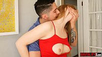 Stepsister teen caught and slammed by stepbrother