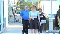 Sexy amateur girl show her round nice big tits in public