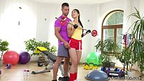 Personal coach fucks fit Asian babe