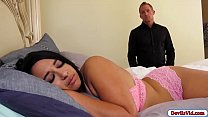 Busty ebony stepdaughter seduced and fucked white stepdad