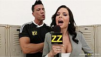 Busty sports journalist Veronica Avluv gang-banged in locker room