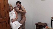 Blonde BBW rides cock