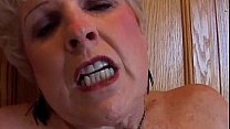 Blonde granny rubbing her pussy in kitchen