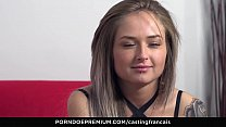 CASTING FRANCAIS - Sultry hot blonde experiences first time fuck on camera
