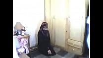 Hijabi abaya girl shows while worship cocks
