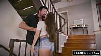 Tight pussy fucked hard on staircase