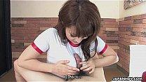 Adorable Japanese teen wanks and sucks her man's hard wang