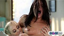 Adriana Chechik squirts and anal rides on Lyra Laws strapon