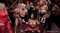 Blonde and redhead in rope bondage with one leg up in the air pussies vibed and fucked in lezdom
