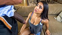 Petite black teen needs to satisfy her stepdad who found out she was sexting with another guy.
