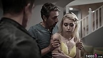 Young blonde stepdaughter DP fucked by dad and uncle
