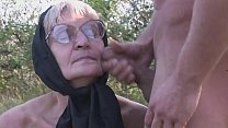 A granny has a walk with that pig of her grandson and gets banged