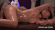Asian girl gets oiled and teased