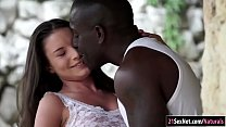 Anita Bellini looking lustful at a black guy working out outdoors.They kiss and he unbuttons her lingerie and eats out her ass.She takes his massive cock out and starts sucking.After a lifted pussy fuck she anal rides his big fat black cock