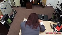 Amateur big breasts brunette milf goes naked then gives a nice blowjob right before she gets her pussy banged on pawnshops office desk by pawn man