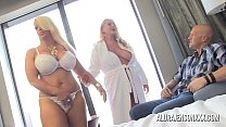 Bokep Two big tit blondes take turns pleasing one lucky guy
