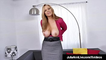XXX Beautiful Blonde Milf Julia Ann kneels down to shove a thick hard cock into her warm mouth, sliding her hands up & down & wrapping her lips around this fat head to get her dose of warm milky cum!