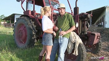 Nympho Teen Valentina Blue Rough Ass Fuck by older Worker with 9Inch Cock public on farm