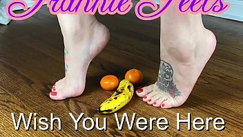 Frannie Feets Smashing Fruit With Her Sexy Feet
