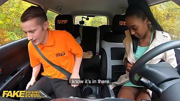 FakeDrivingSchool English Hottie Gives Amazing Blowjob on the Backseat