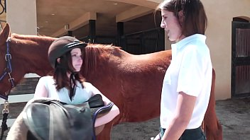 Pretty Kara Price and her classmate Ally Evans enjoy pearls diving after  lesson of horse riding