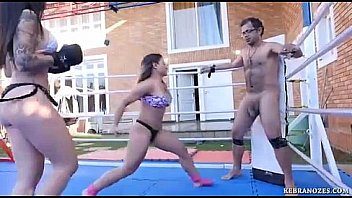 Bokep Two girls vs one guy - ballbusting