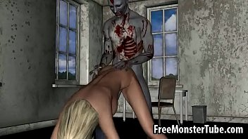 Hot 3D blonde honey getting fucked hard by a zombieombie-high 1