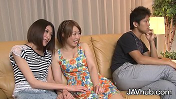 Two petite Japanese girlfriends sucking and fucking their boyfriends in a naughty foursome