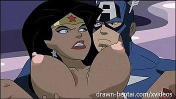 Superhero Hentai - Justice League - Wonder Woman vs Captain america