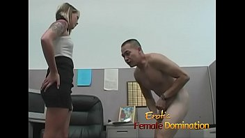 Instead of working like she's supposed to, this skinny blonde plays with a co-worker.